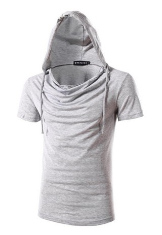 Fashion Short Sleeve T-Shirt Loose - with Hood - in 8 Colors