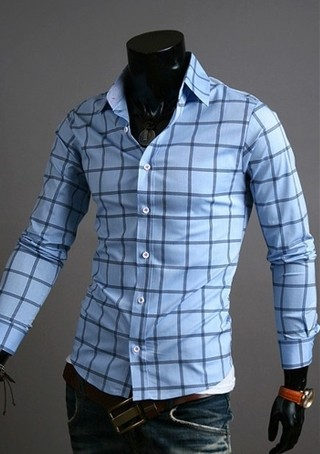 Shirt Casual Chic - Checkered Modern - in Blue, White and Dark Blue