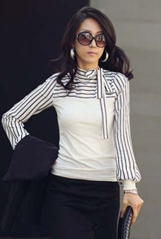 Office Social Blouse with Lace and Sleeves Striped - White