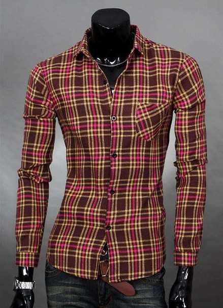 Camisa Casual Moderna a Cuadros Slim Fit - Cafe