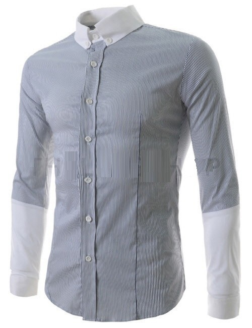 Camisa Casual Fashion a Rayas - Mangas y Cuello Bicolor - en 3 Colores en internet