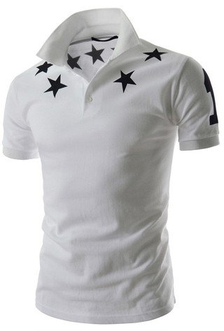 Polo Shirt - Superior Details Stars - in White, Black and Gray