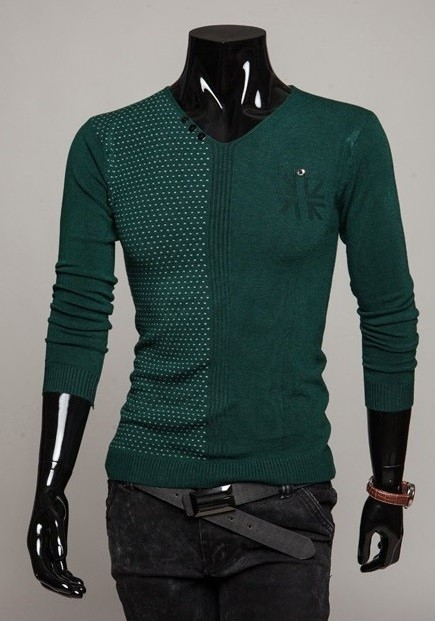Sweater Fashion Cuello en V - Detalle de Puntos - Verde