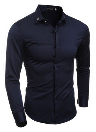 Shirt Elegant Shine - Buttons Retro Fashion - in Dark Blue and White - buy online