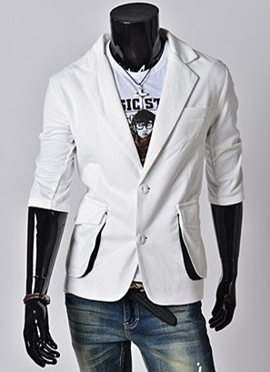 Blazer Casual Fashion - Big Pockets - in White and Black