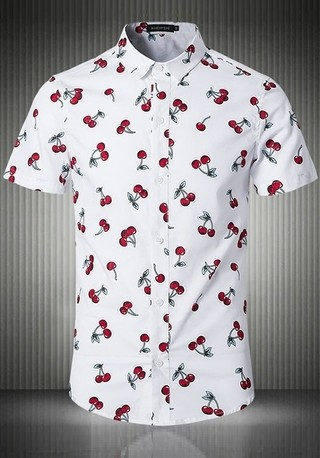 Short Sleeve Shirt Fashion Italian Neck - Cherry