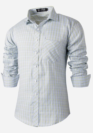 Modern Casual Checkered Shirt - Thin Lines - Light Blue