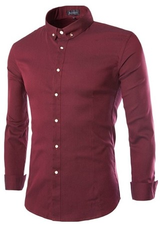 Mandarin Neck Shirt Fashion Casual - Modern Buttons - in Wine, Blue, White and Black