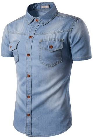 Shirt in Jean Classic Short Sleeve - Cowboy Style - in Light Blue, Blue and Dark Blue