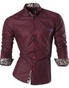 Modern Shirt Night with Floral Detail - Shine - in Black, Wine and Blue - buy online