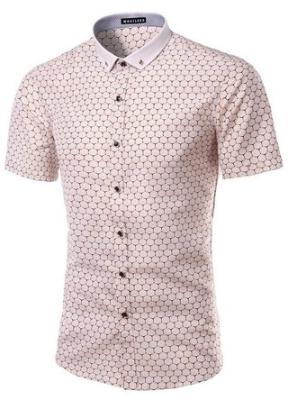 Sophisticated Short Sleeve Shirt with Mandarin Neck and Details - Hexagon Design