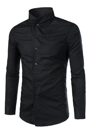 Solid Fashion Shirt - High Neck - in Black, White and Blue