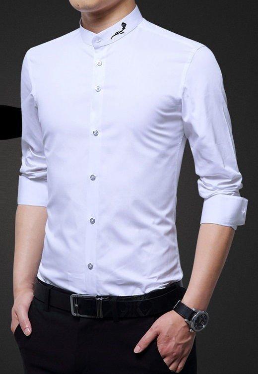 e6b896ac5f Camisa Elegante Lisa - Cuello Mandar n con Detalle - en Blanco ...
