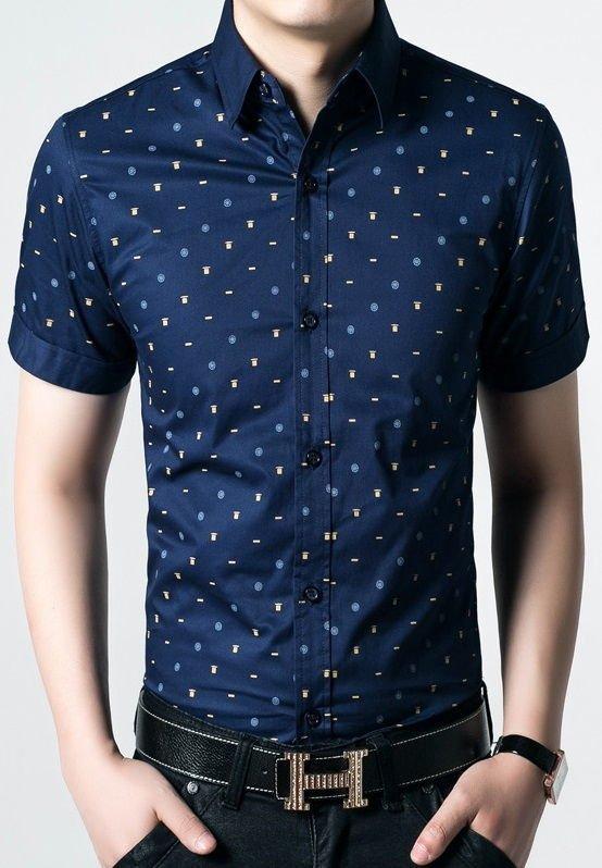 262f87e37 Camisa Manga Corta Moderna en Algodón - Dots Fashion - en Azul y Azul Claro