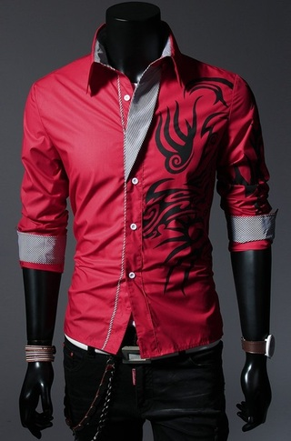 Modern Casual Shirt with Tribal Design - Red, White, Black and Purple - buy online