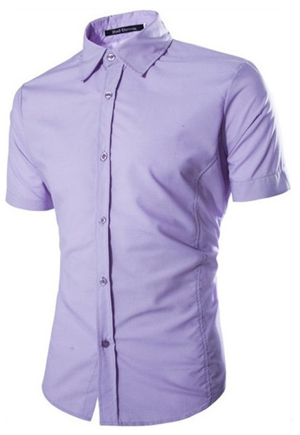 Camisa Casual Fashion Manga Corta - Color Solido - Purpura