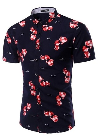 Floral Fashion Youth Shirt Short Sleeve - Elegant Buttons - in Dark Blue and White