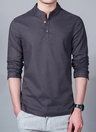 Lino Shirt with Mandarin Neck - in 6 Colors