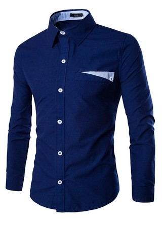 Elegant Fashion Casual Shirt - Solid Color - in Dark Blue, White and Light Blue