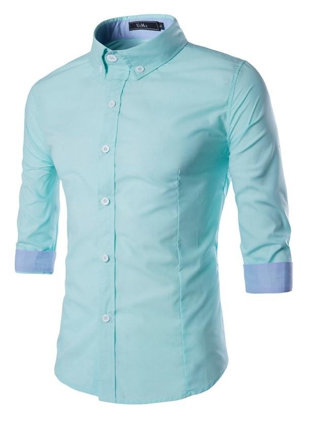 7cb1d90d0 ... Camisa Moderna Sport Chic - Mangas 3 4 - en 4 Colores - Camisas de ...