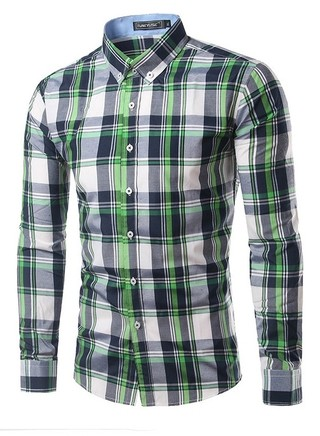 Youth Fashion Checkered Shirt - Neck Modern Style - Green/Blue