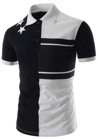 Type Sport Youth Fashion Polo Shirt with Details - in White and Gray