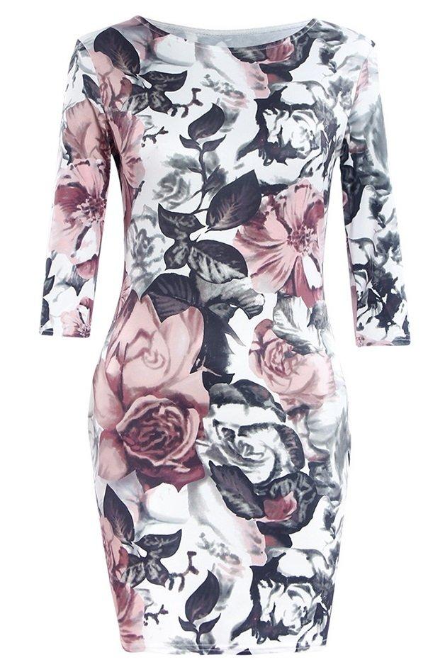 881b957c1 Vestido Clásico Floral con Cuello Redondo y Manga 3 4 - Tonos Neutros