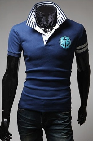 Polo Mariner with Details on Neck - in Blue and White