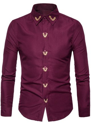 Sophisticated Shirt with Golden Embroidery Details Fashion - in 4 Colors