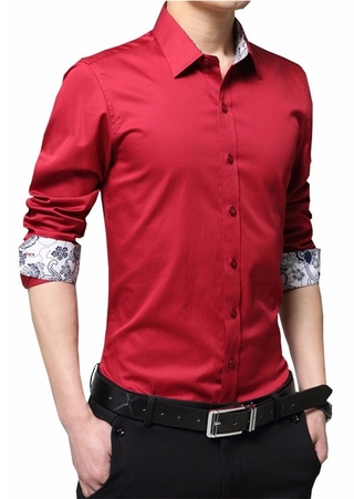 Shirt Social Solid and Elegant - Floral Cuff - in 10 Colors
