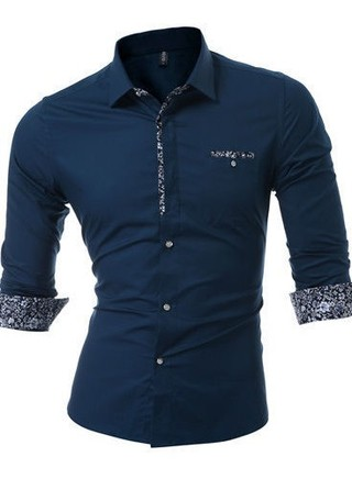 Elegant Shirt in Solid Colors - Floral Details - in 5 Colors