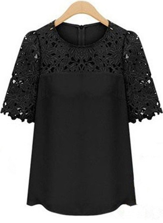 Lace Blouse for Spring - Black