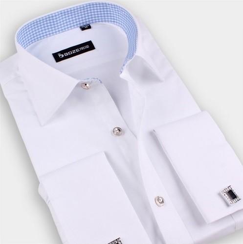 114046012f5 ... Camisa de Vestir Clásica Premium Lisa - para Usar con Gemelos - en 6  Colores ...