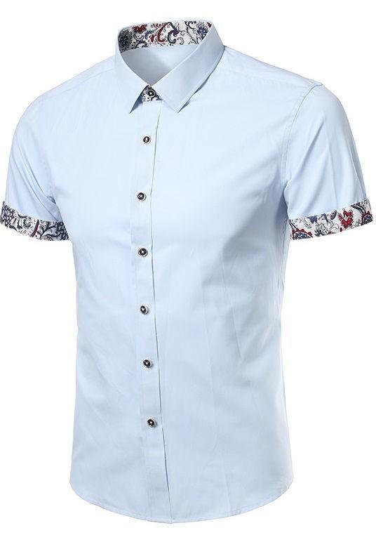 f4ed5a10c Camisa Lisa Fashion Manga Corta - Detalles Florales - en 4 Colores - Camisas  de Hombre ...