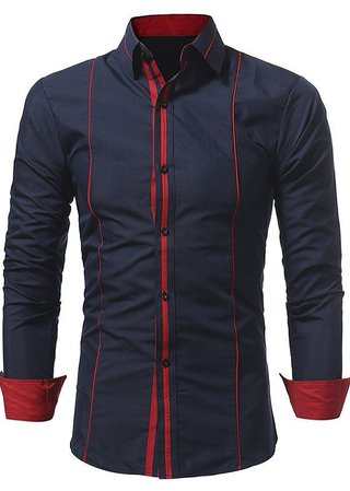 Modern Solid Color Shirt with Vibrant Color Details - in Dark Blue and Black