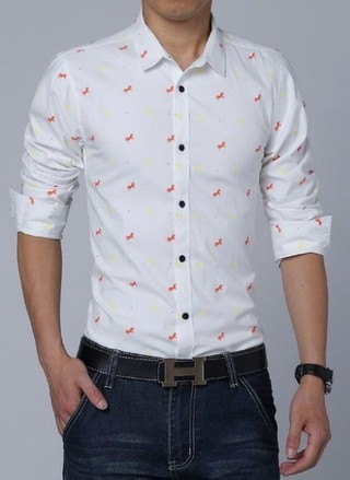 Elegant Casual Casual Shirt - Little Horses - White, Blue and Pink