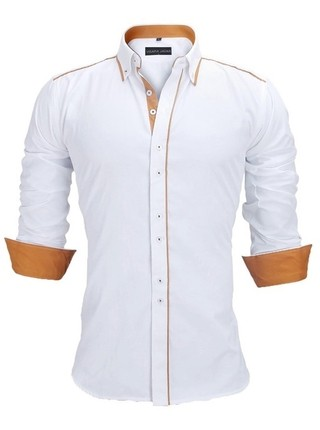 Shirt Casual / Social with Contrast Details - Current Style - White, Black and Light Blue