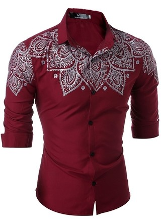 Sophisticated Smooth Shirt with Elegant Indian Floral Design on the Shoulders and Chest - in Wine, Black and Dark Blue
