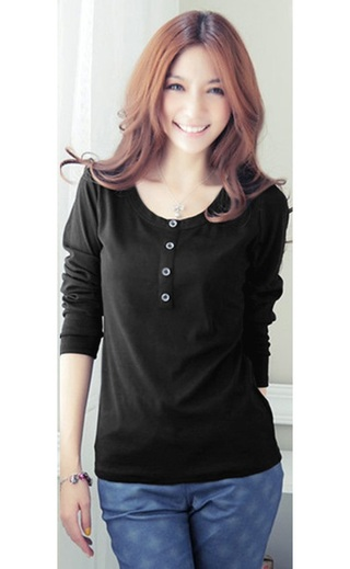 Casual Blouse Young Neckline Round - Black