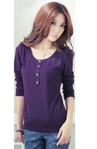 Casual Blouse Young Neckline Round - Purple