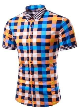 Youth Fashion Short Sleeve Shirt - Checkered Multicolor - Blue - buy online