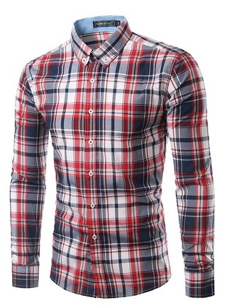 Youth Fashion Checkered Shirt - Neck Modern Style - Red/Dark Blue