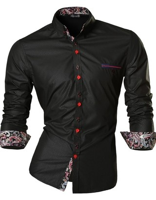 Modern Shirt Night with Floral Detail - Shine - in Black, Wine and Blue