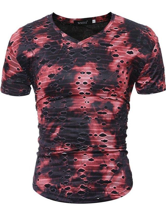 AzulMarrón Y Degrade Fashion Corta Rojo En Printed Camiseta Manga Holes 9IDH2WEY