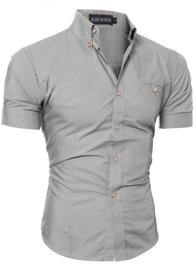 f34ec50c2 Camisa Manga Corta Ajustada - Estilo Elegante - en 8 Colores