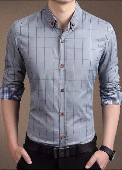 8611c223f ... Camisa de Vestir Moderna a Cuadros - Elegante - en 7 Colores - Camisas  de Hombre ...