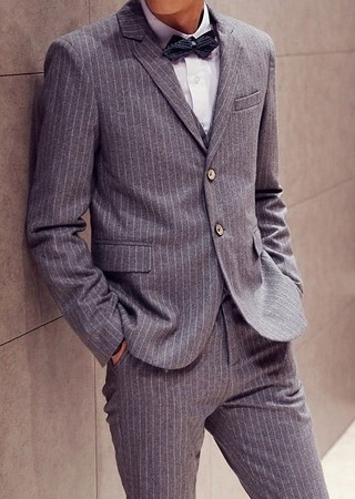 Suit Slim Fit Striped Dress - Blazer and Pants - in Gray and Black