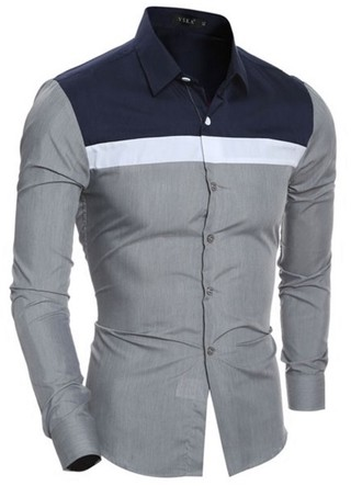 Modern Shirt Casual/Social - Mix Colors - in Wine and Gray