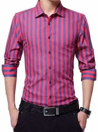 Elegant and Sophisticated Shirt - Striped Youth Style - in Red and Dark Blue