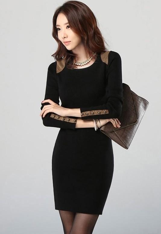 Vestido negro con beige